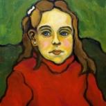 Niña con sweater rojo